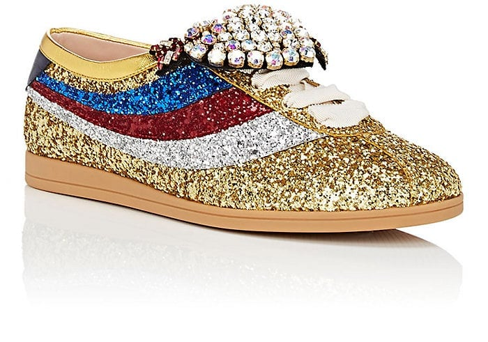 be4e2cf7a5c Gucci Falacer Glitter Sneaker With Web In Gold and Silver