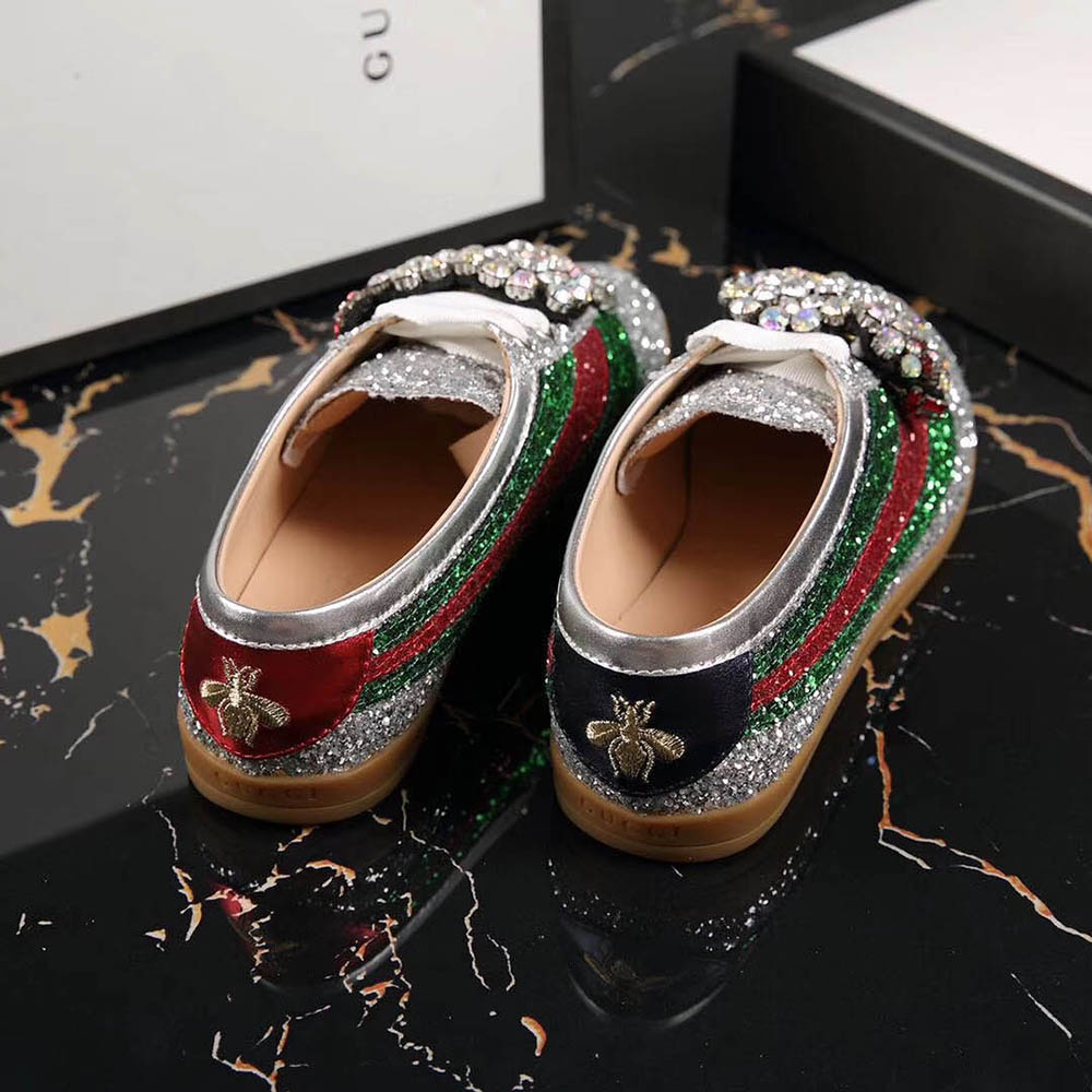f1c10fca817 Gucci Falacer Glitter Sneaker With Web In Gold and Silver