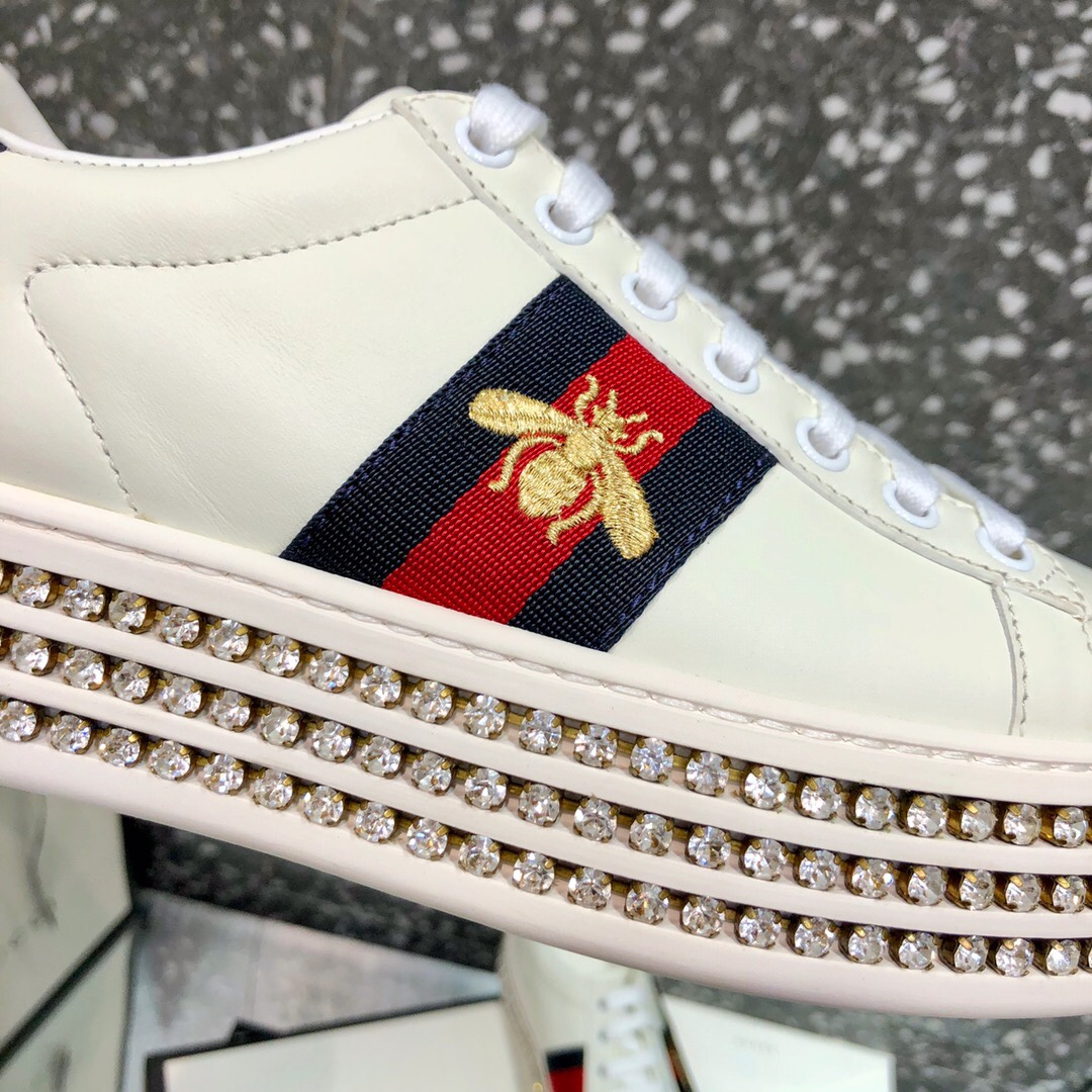 Gucci Ace Sneaker with Crystals - Rose